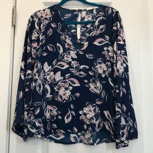 LUSH Navy Floral Bell Sleeve Blouse